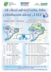 , Do Terchovskej aBystrickej doliny sa dostanete autobusom isvašim bicyklom