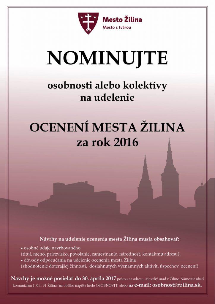 , Nominujte osobnosti alebo kolektívy na ocenenie mestom Žilina